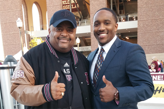 Jordan on set of Aggie Game Day with commentator for TV One and the host of News One Now Roland Martin