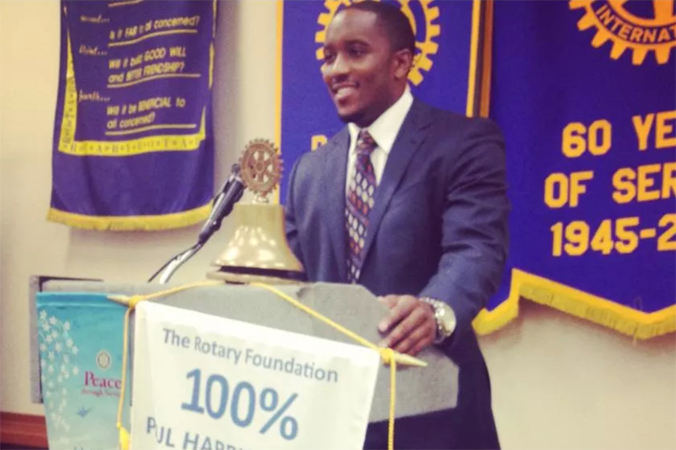 Jordan speaking at Plano's Rotary Club