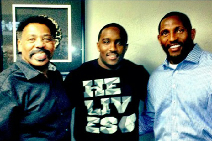 jordan with Pastor Tony Evans and NFL Hall of Fame player Ray Lewis at the No More Excuses Men's Conference