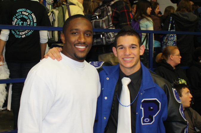 Jordan with student–athlete at Plano West Senior High Homecoming.