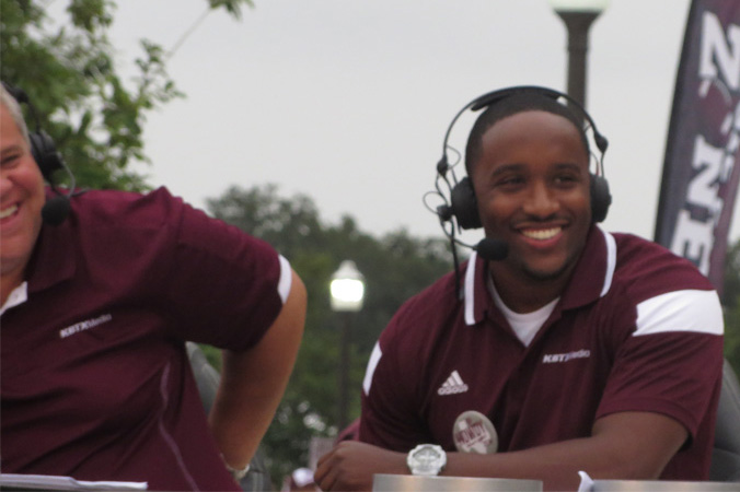 Jordan having a fun moment on set of the award winning pre-game show Aggie Game Day
