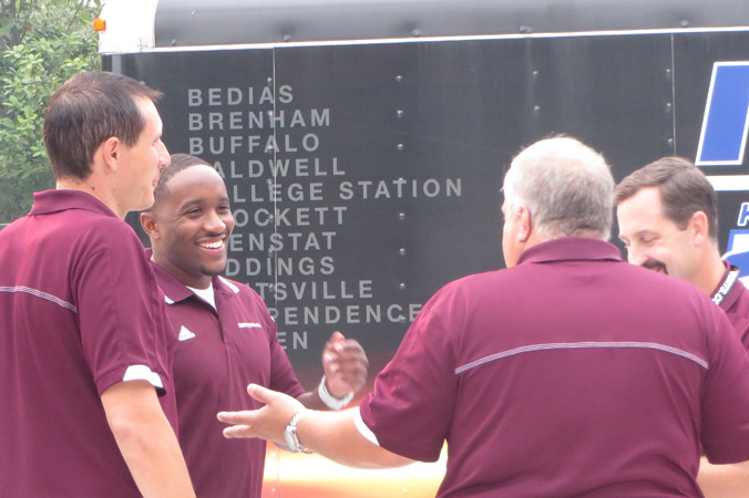 Jordan making final preparations with the Aggie Game Day show team