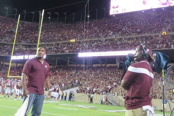 Jordan Pugh Being Honored as the Honorary Captain for his former Texas A&M football team at the home opener at the the new Kyle Field